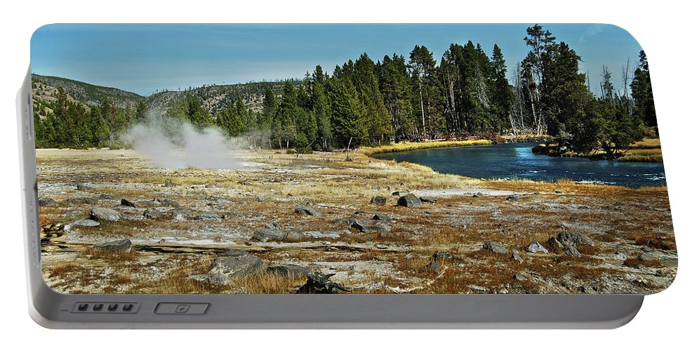Yellowstone Portable Battery Charger featuring the photograph Yellowstone Hot Springs by Michael Peychich
