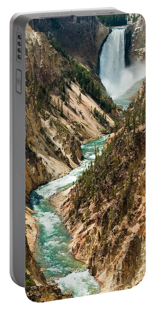 Yellowstone Portable Battery Charger featuring the photograph Yellowstone Waterfalls by Sebastian Musial