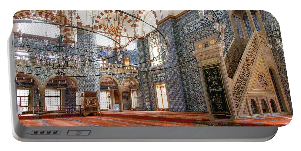Asia Portable Battery Charger featuring the photograph Yeni Cami Mosque by Emily M Wilson