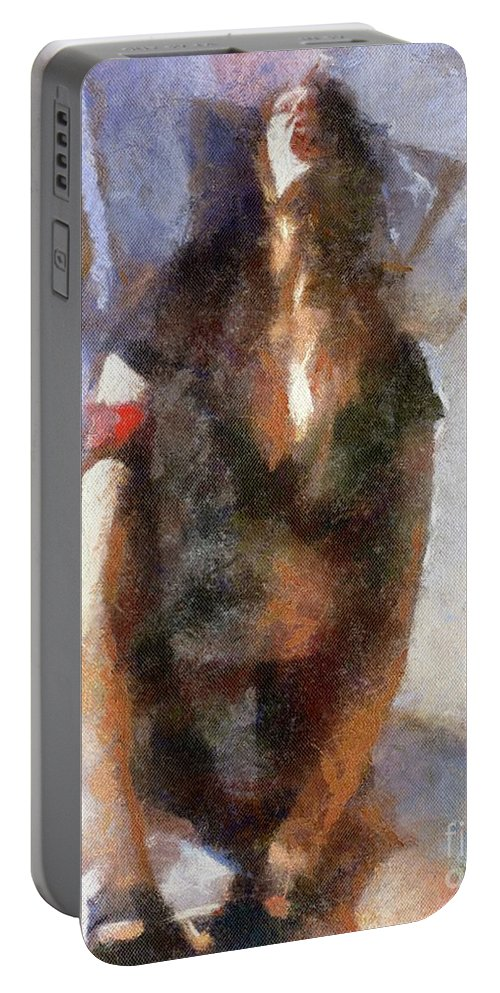 Burlesque Portable Battery Charger featuring the painting Yes By Mary Bassett by Mary Bassett