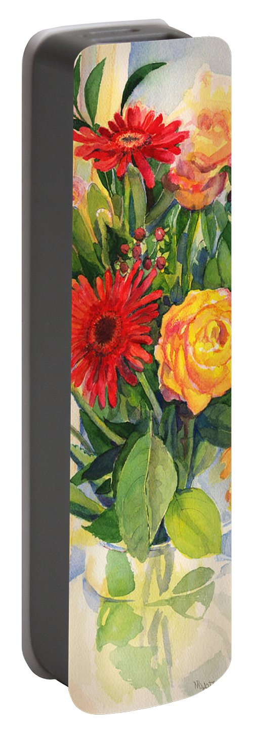 Watercolor Flowers Portable Battery Charger featuring the painting Yesterdays Beauties by Nancy Watson