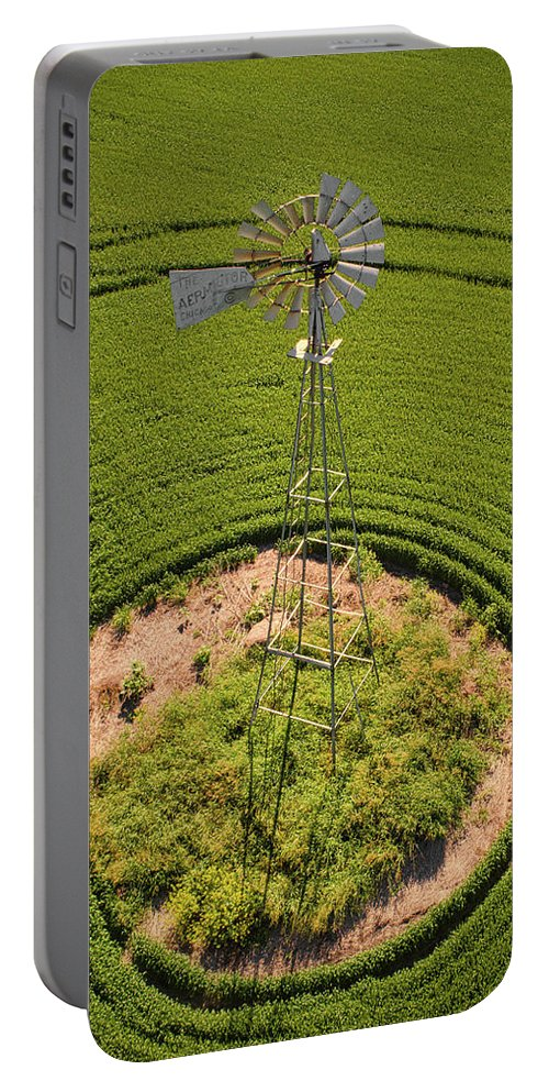 Drone Portable Battery Charger featuring the photograph Yesterday's Windmill II by Sheryl Leas