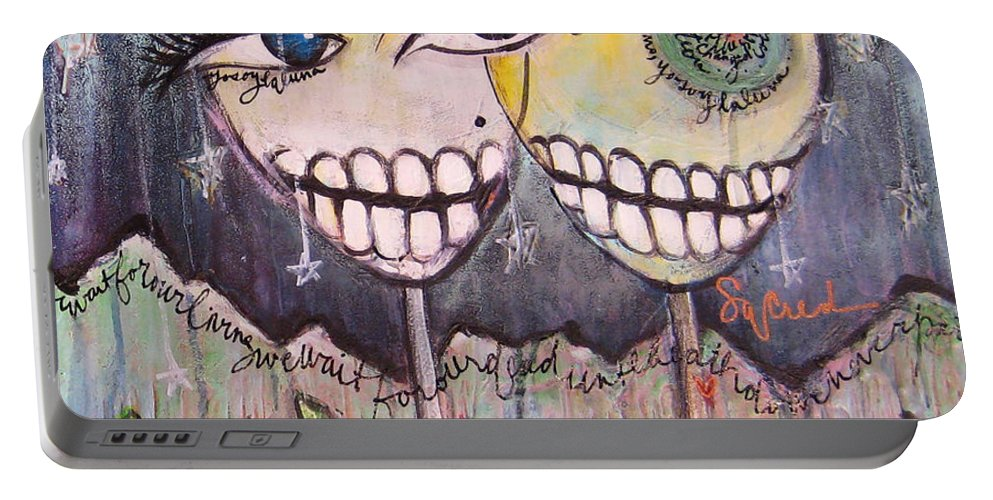 Skull Heads Portable Battery Charger featuring the painting Yo Soy La Luna by Laurie Maves ART
