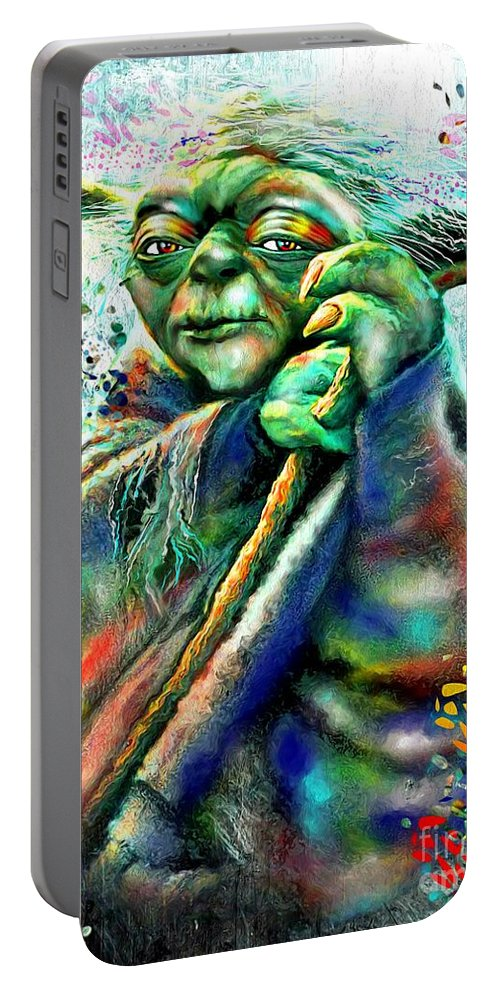 Yoda Portable Battery Charger featuring the painting Yoda by Daniel Janda