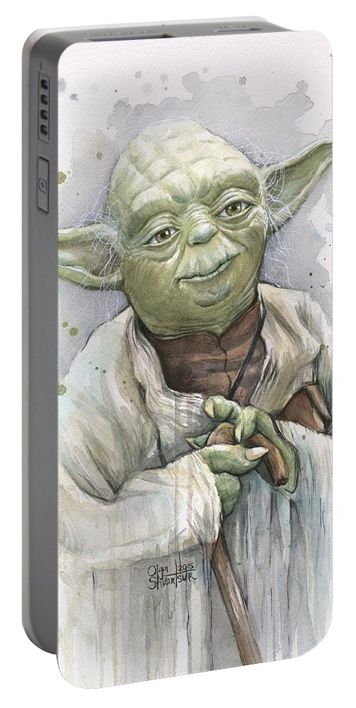 Yoda Portable Battery Charger featuring the painting Yoda by Olga Shvartsur