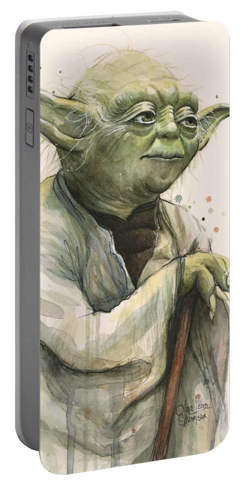 Yoda Portable Battery Charger featuring the painting Yoda Portrait by Olga Shvartsur