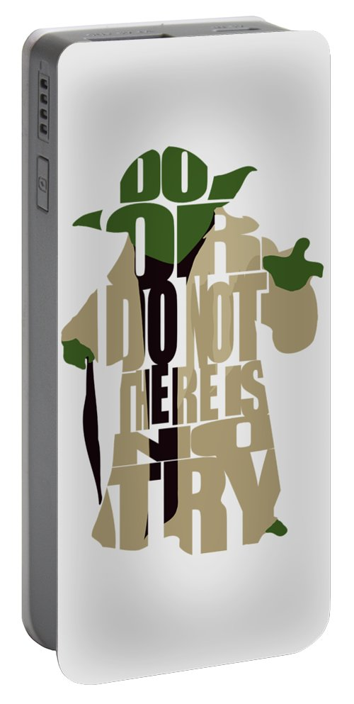 Yoda Portable Battery Charger featuring the digital art Yoda - Star Wars by Inspirowl Design