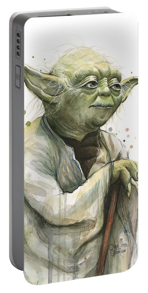 Yoda Portable Battery Charger featuring the painting Yoda Watercolor by Olga Shvartsur