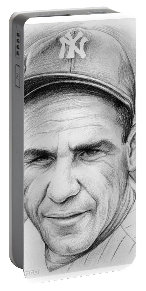 Yogi Berra Portable Battery Charger featuring the drawing Yogi Berra by Greg Joens