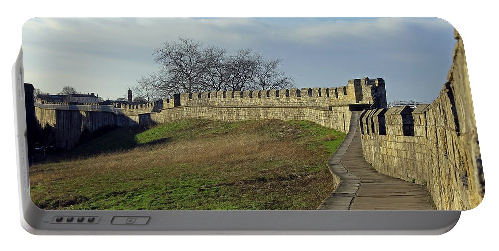 York Portable Battery Charger featuring the photograph York City Walls by Tony Murtagh