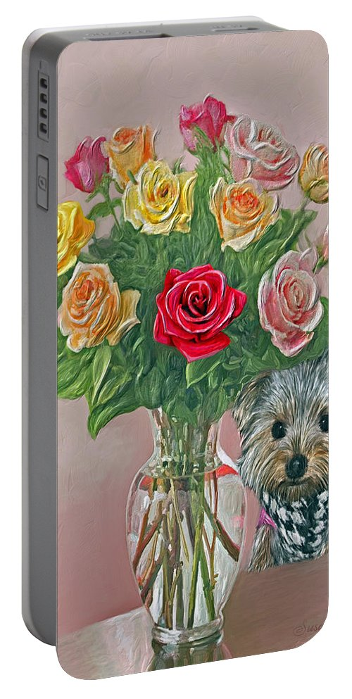 Roses Portable Battery Charger featuring the painting Yorkey Rose by Susanna Katherine