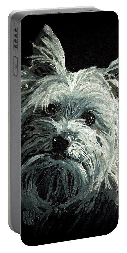 Animals Portable Battery Charger featuring the painting Yorkie by Portraits By NC