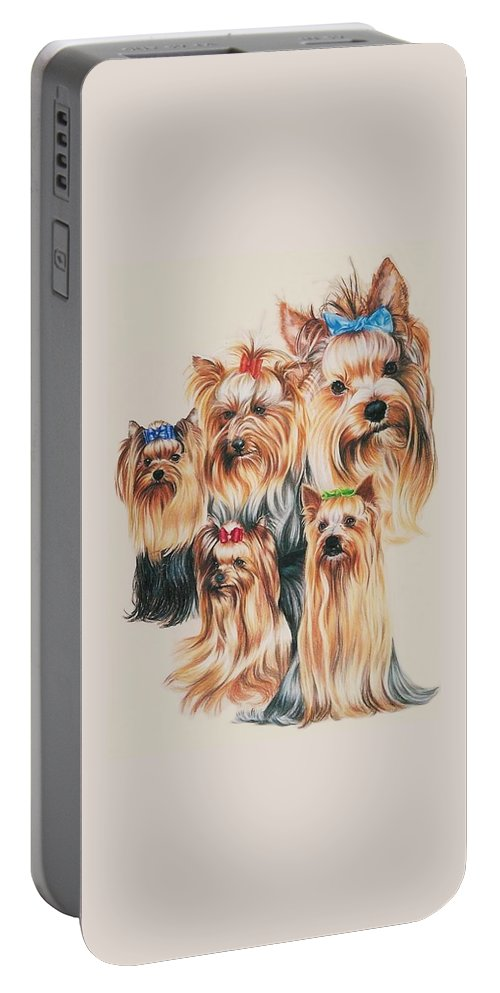 Purebred Portable Battery Charger featuring the drawing Yorkshire Terrier by Barbara Keith