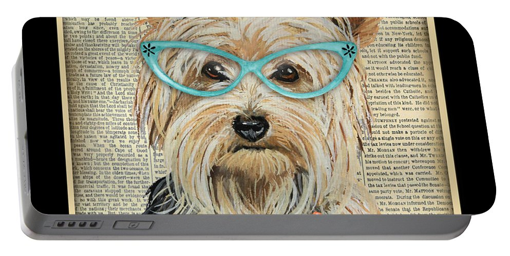 Yorkshire Terrier Portable Battery Charger featuring the painting Yorkshire Terrier-jp3856 by Jean Plout