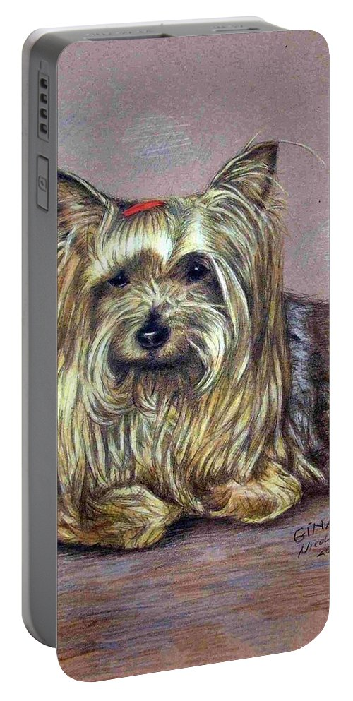 Dog Portable Battery Charger featuring the drawing Yorkshire Terrier by Nicole Zeug