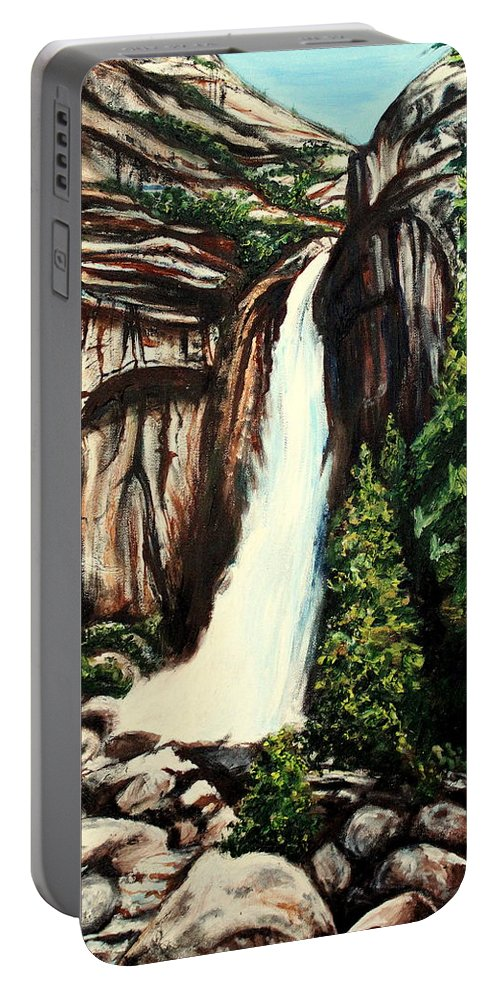 Landscape Portable Battery Charger featuring the painting Yosemite Falls by Elizabeth Robinette Tyndall