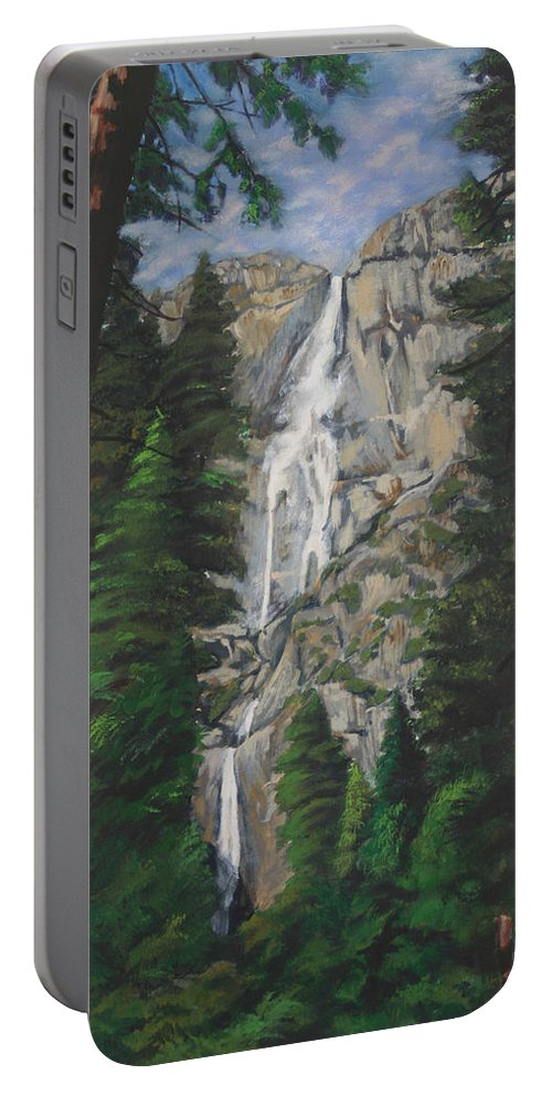 Landscape Portable Battery Charger featuring the painting Yosemite Falls by Travis Day