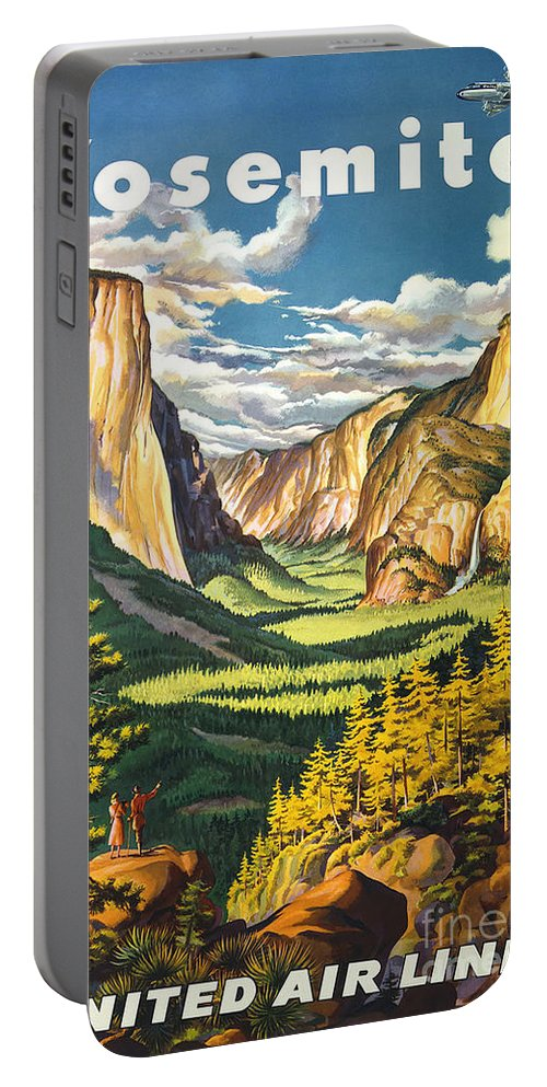 Yosemite Park Vintage Poster Portable Battery Charger featuring the painting Yosemite Park Vintage Poster by Pd