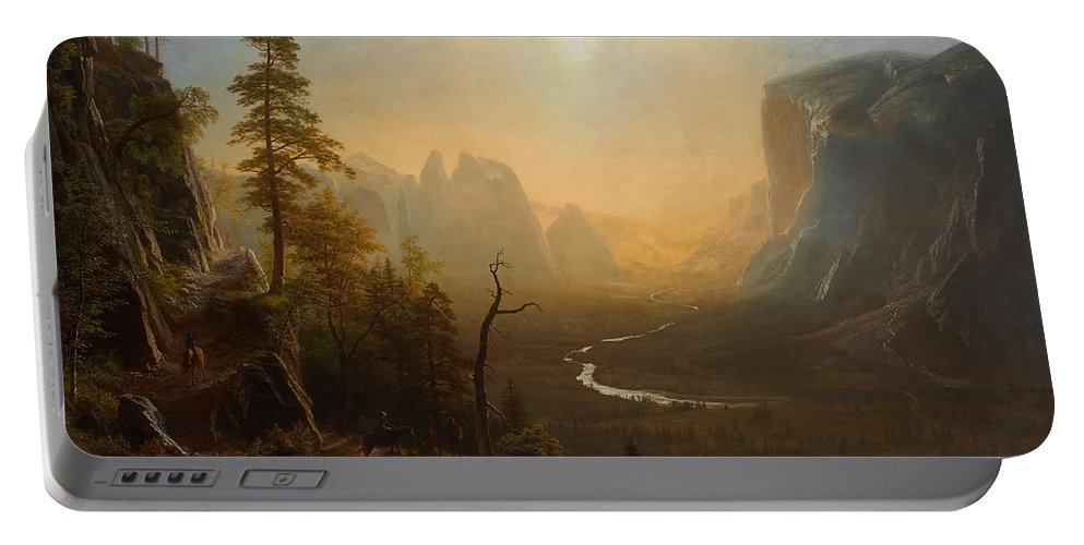 Painting Portable Battery Charger featuring the painting Yosemite Trail - Glacier Point by Mountain Dreams