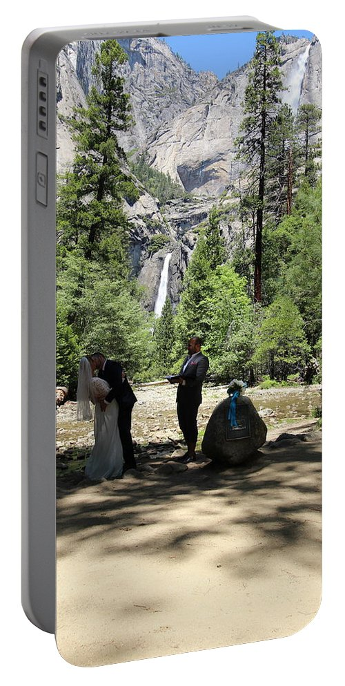 Portable Battery Charger featuring the painting Yosemite Wedding by Travis Day