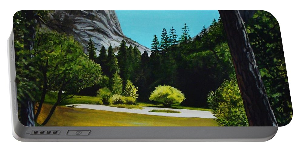 Landscape Portable Battery Charger featuring the painting Yosemite's Window by Elizabeth Robinette Tyndall