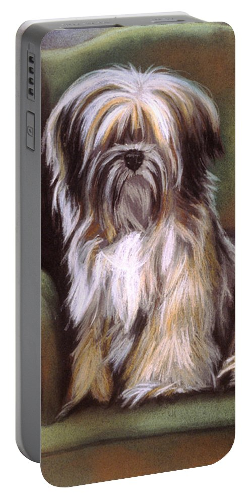 Purebred Portable Battery Charger featuring the pastel You Are In My Spot Again by Barbara Keith