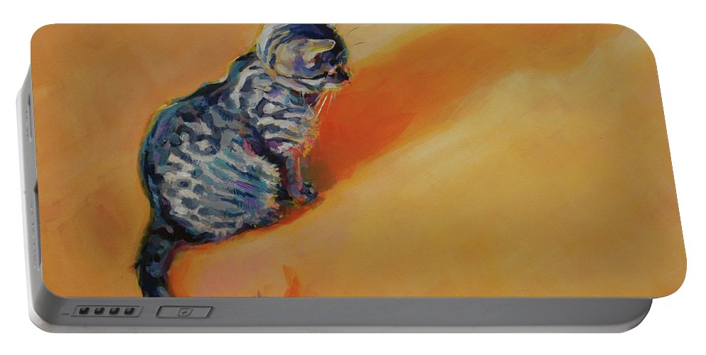 Tabby Kitten Portable Battery Charger featuring the painting You Are My Sunshine by Kimberly Santini