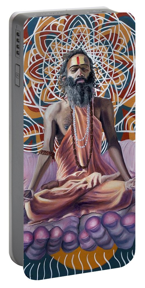 Spiritual Portable Battery Charger featuring the painting You Are The Universe by Tyler Schmalz