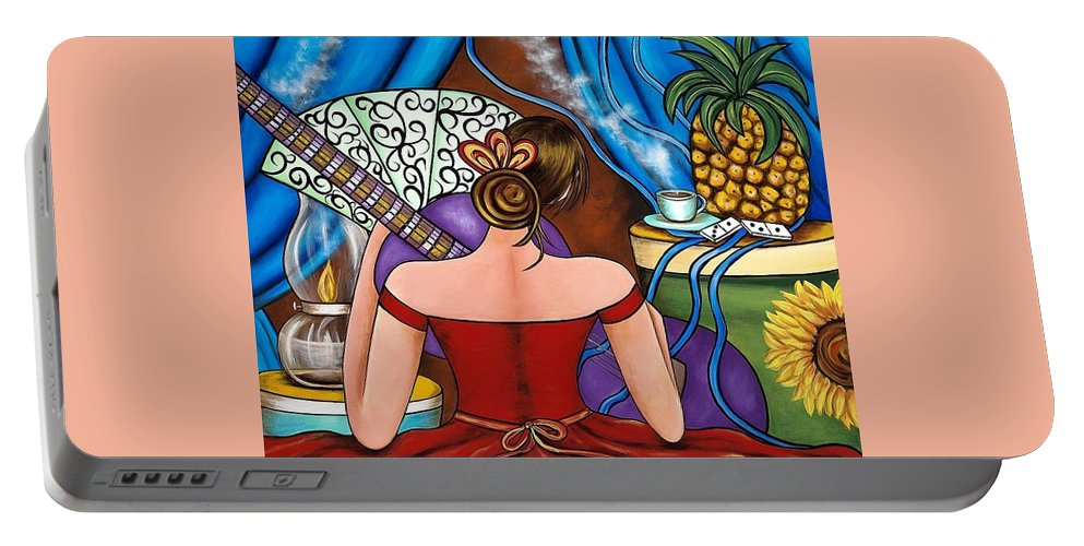 Cuba Portable Battery Charger featuring the painting You Belong To Me by Annie Maxwell