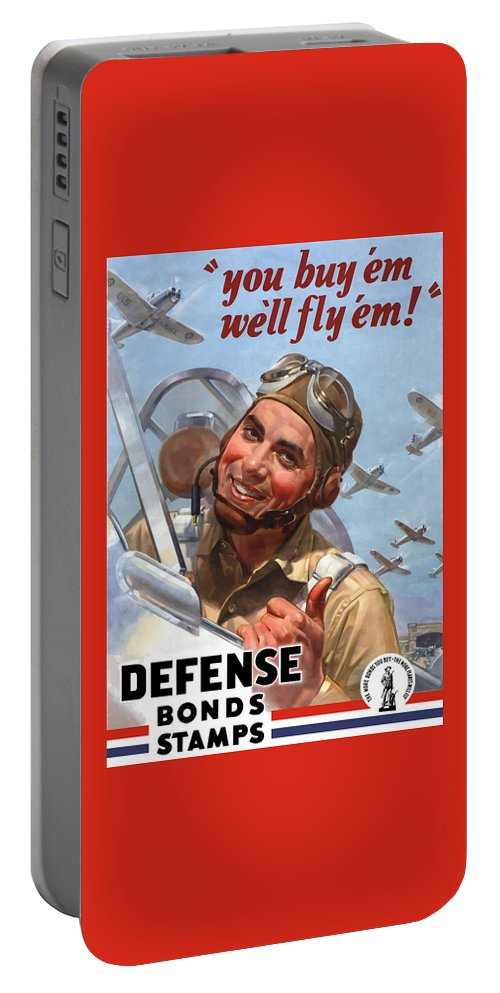 Fighter Pilot Portable Battery Charger featuring the painting You Buy 'em We'll Fly 'em by War Is Hell Store
