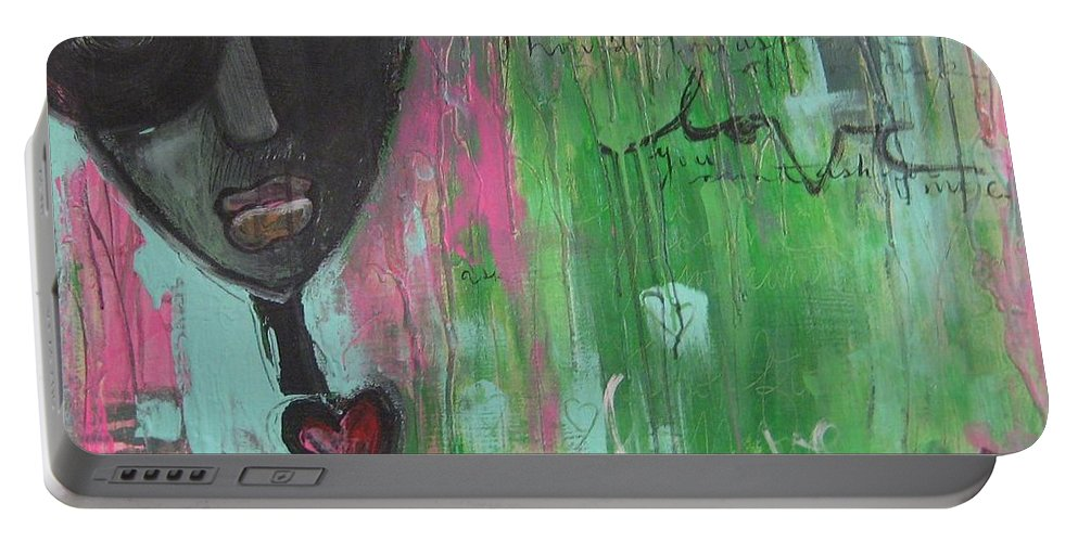 Figurative Portable Battery Charger featuring the painting You Cant Ask For More by Laurie Maves ART