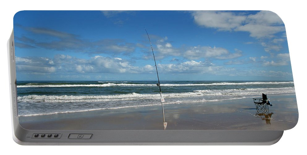 Fish Fishing Vacation Beach Surf Shore Rod Pole Chair Blue Sky Ocean Waves Wave Sun Sunny Bright Portable Battery Charger featuring the photograph You Could Have Been There by Andrei Shliakhau