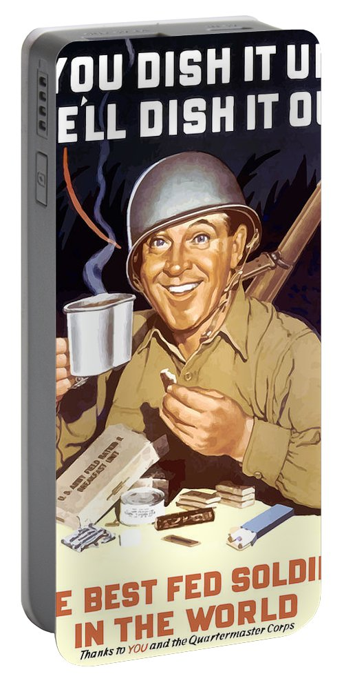 War Rations Portable Battery Charger featuring the painting You Dish It Up We'll Dish It Out by War Is Hell Store
