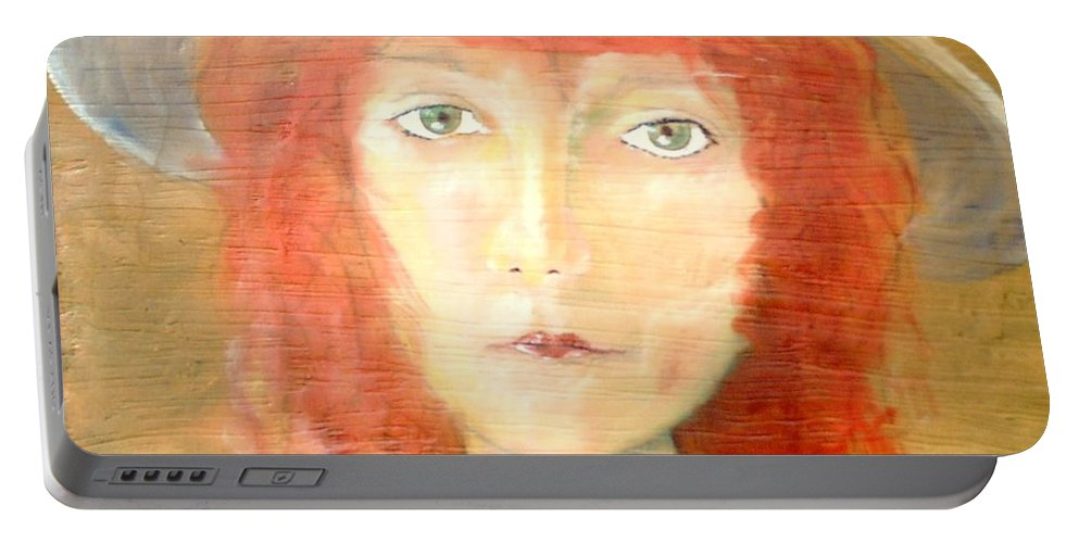 Woman Portable Battery Charger featuring the painting You Found My Hat by J Bauer