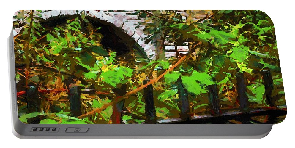 Fence Portable Battery Charger featuring the painting You Go First by RC DeWinter