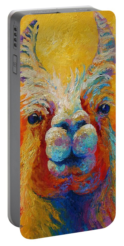 Llama Portable Battery Charger featuring the painting You Lookin At Me by Marion Rose