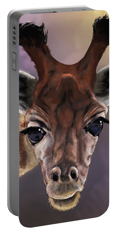 Giraffe Portable Battery Charger featuring the digital art You Looking At Me by Andrew Reinhart
