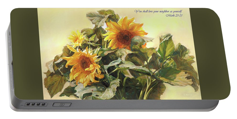 New Testament Portable Battery Charger featuring the painting You Shall Love Your Neighbor As Yourself by Svitozar Nenyuk