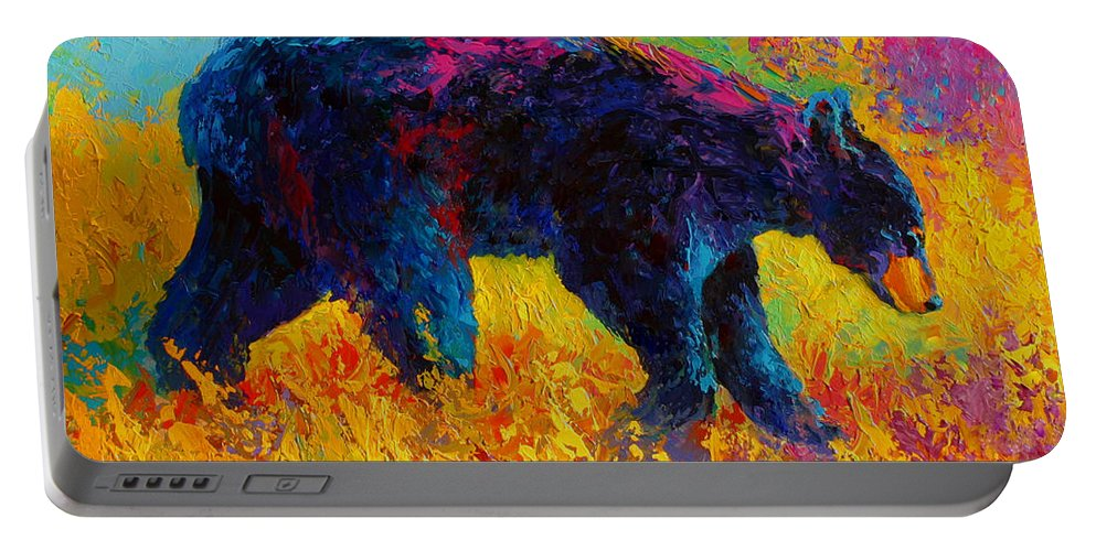Bear Portable Battery Charger featuring the painting Young And Restless - Black Bear by Marion Rose