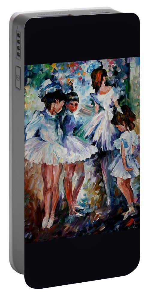 Afremov Portable Battery Charger featuring the painting Young Ballerinas by Leonid Afremov