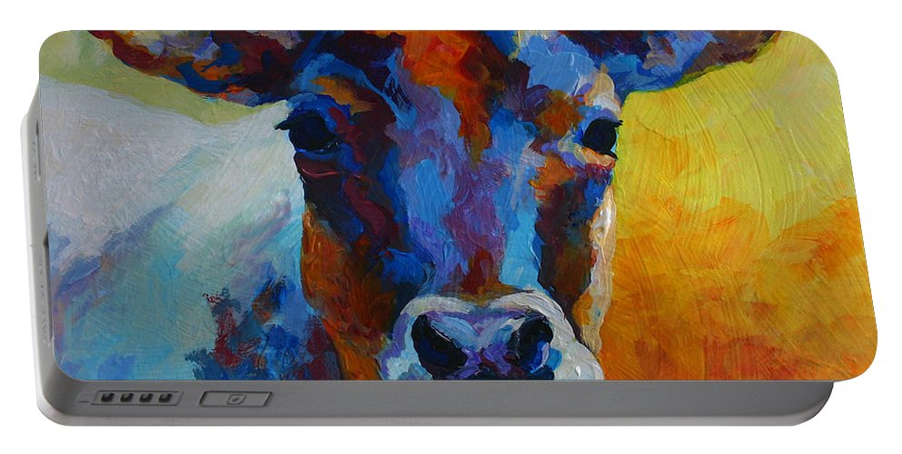 Western Portable Battery Charger featuring the painting Young Blood - Longhorn by Marion Rose