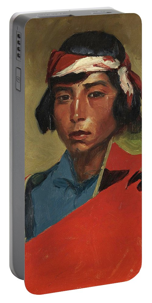 Robert Henri Portable Battery Charger featuring the painting Young Buck Of The Tesuque Pueblo by Robert Henri