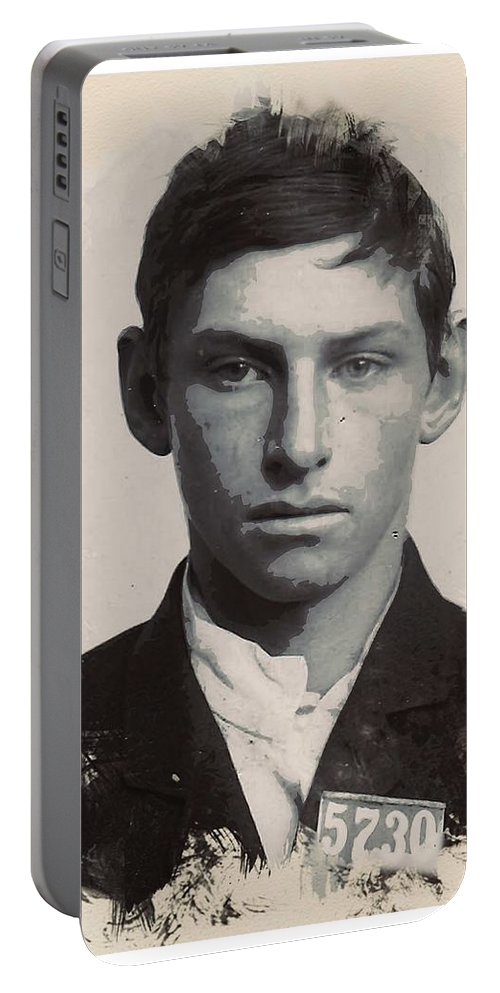 Man Portable Battery Charger featuring the painting Young Faces From The Past Series By Adam Asar - Asar Studios, No 3 by Adam Asar