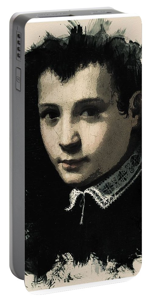 Man Portable Battery Charger featuring the painting Young Faces From The Past Series By Adam Asar - Asar Studios, No 4 by Adam Asar