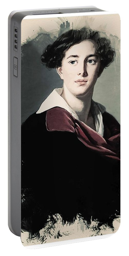 Girl Portable Battery Charger featuring the painting Young Faces From The Past Series By Adam Asar, No 10 by Adam Asar