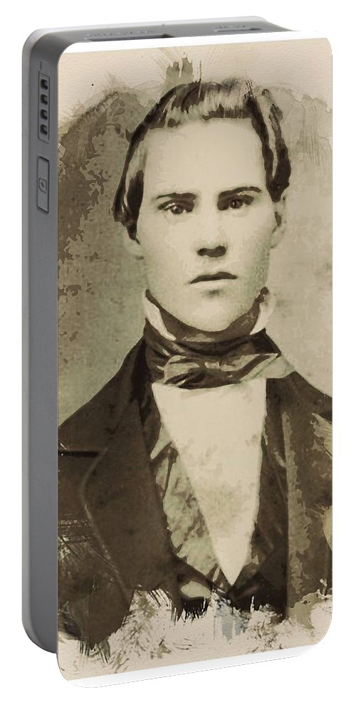 Man Portable Battery Charger featuring the painting Young Faces From The Past Series By Adam Asar, No 101 by Adam Asar