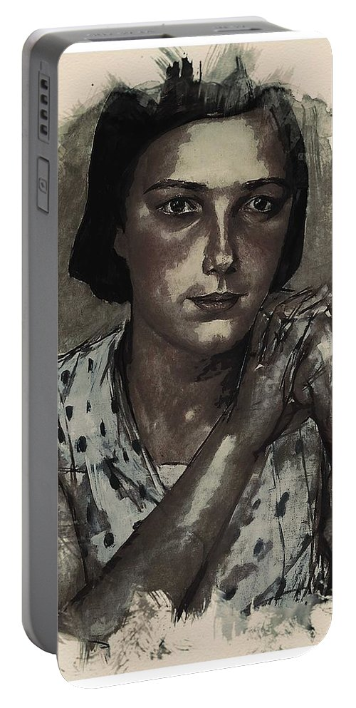 Girl Portable Battery Charger featuring the painting Young Faces From The Past Series By Adam Asar, No 112 by Adam Asar