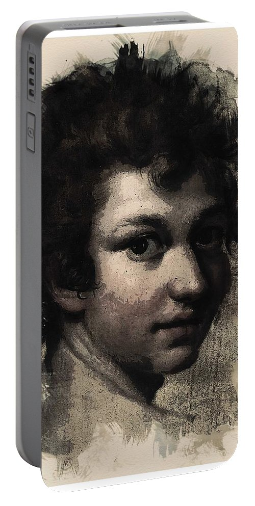 Man Portable Battery Charger featuring the painting Young Faces From The Past Series By Adam Asar, No 116 by Adam Asar