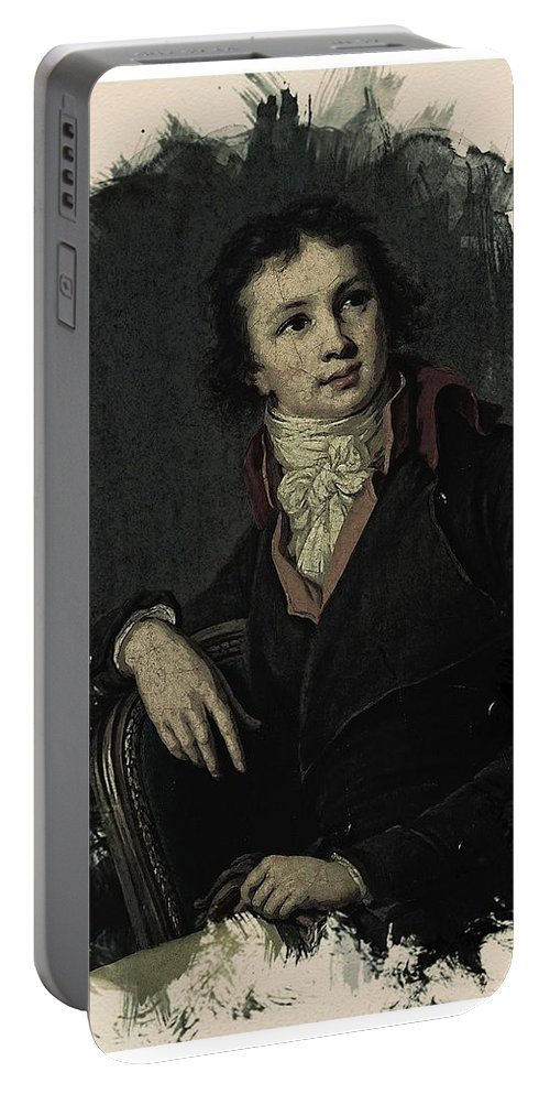 Face Portable Battery Charger featuring the painting Young Faces From The Past Series By Adam Asar, No 12 by Adam Asar