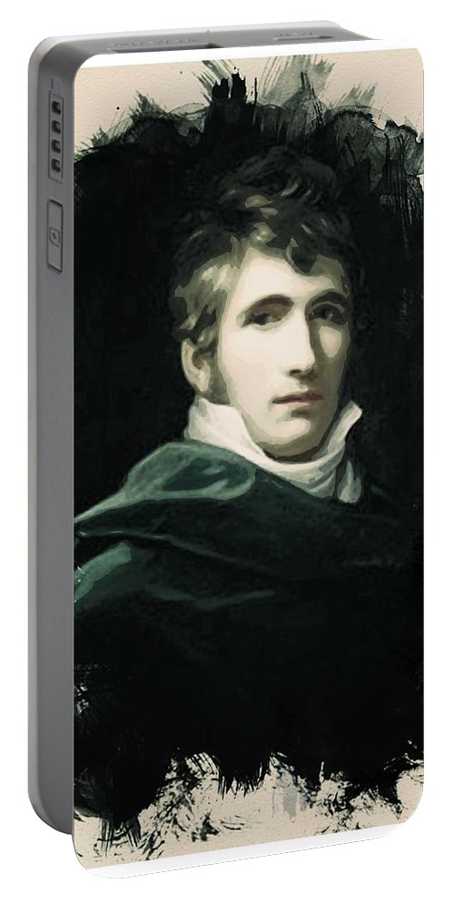 Man Portable Battery Charger featuring the painting Young Faces From The Past Series By Adam Asar, No 22 by Adam Asar